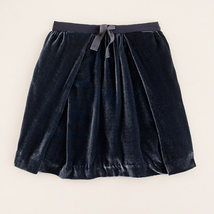 Girls' velvet crush skirt