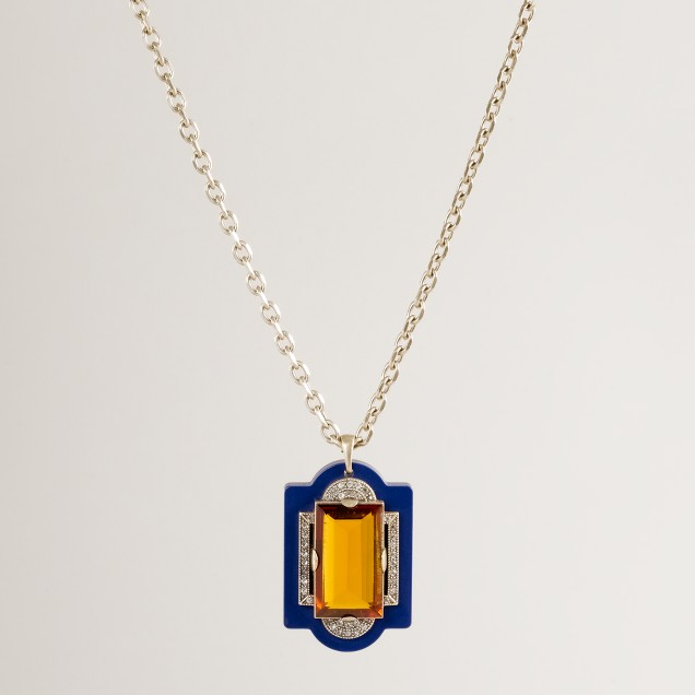 Lulu Frost for J.Crew Deco stone and crystal pendant necklace