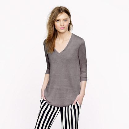 V-neck swing sweater in linen