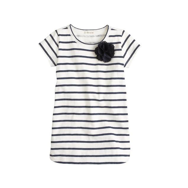 Girls' stripe corsage tunic