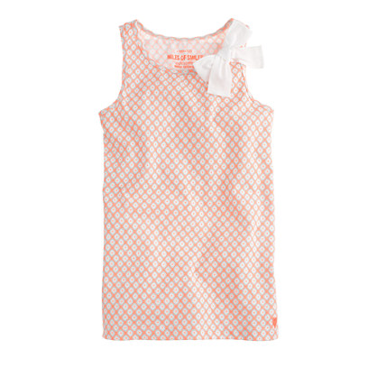 Girls' bow tank in medallion dot