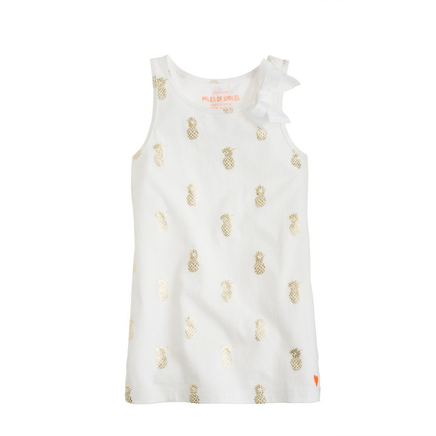 Girls' bow tank in pineapple print