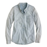 petite faded chambray popover