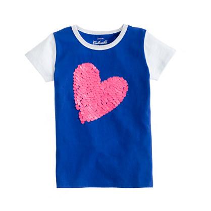 Girls' paillette heart tee