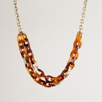Resin and crystal link necklace
