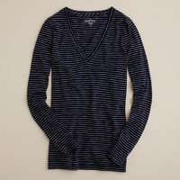 Vintage cotton long-sleeve V-neck tee in stripe