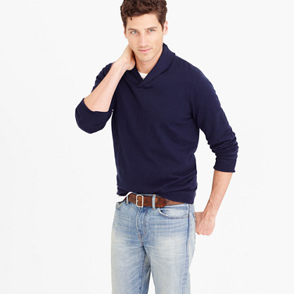 Cotton-cashmere shawl-collar sweater