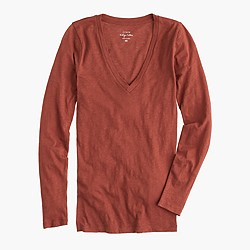 Vintage cotton long-sleeve V-neck T-shirt