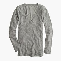 Petite vintage cotton long-sleeve V-neck T-shirt