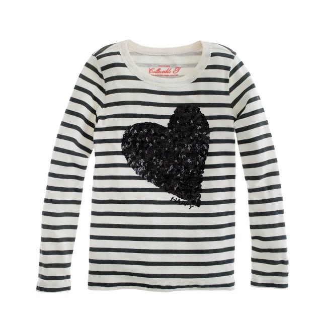 Girls' long-sleeve sequin heart tee in stripe