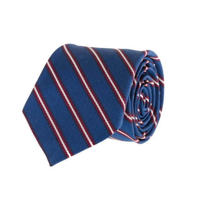 Thin-stripe silk tie in blue