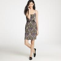 Blouson dress in royal paisley