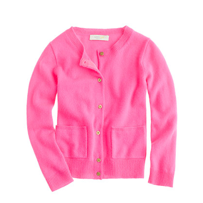 Girls' cashmere gold-button cardigan