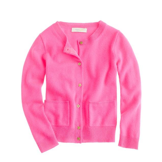 Girls' cashmere gold-button cardigan