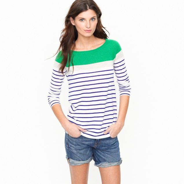 Cashmere boatneck sweater in colorblock