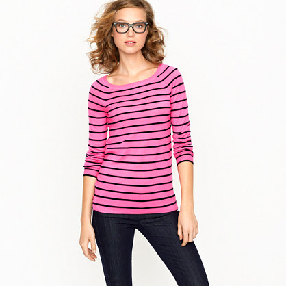 Cashmere boatneck sweater in thin stripe