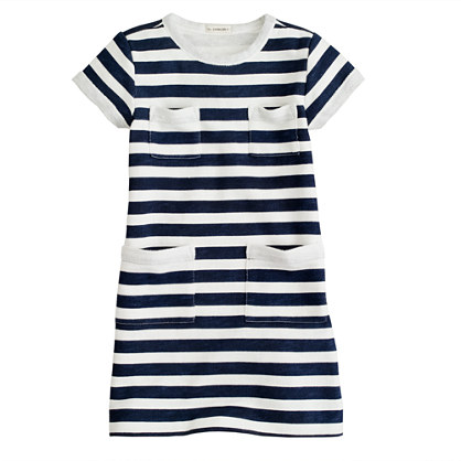 Girls' sweatshirt pocket dress in stripe