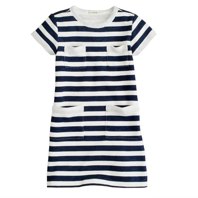 Girls' sweatshirt pocket dress in stripe