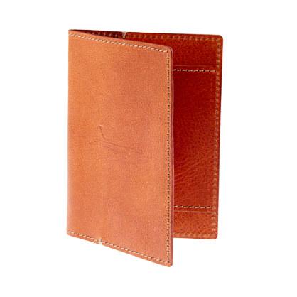 Cognac leather passport holder