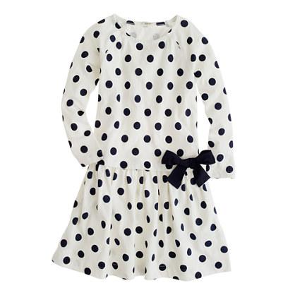 Girls' drop-waist dot dress