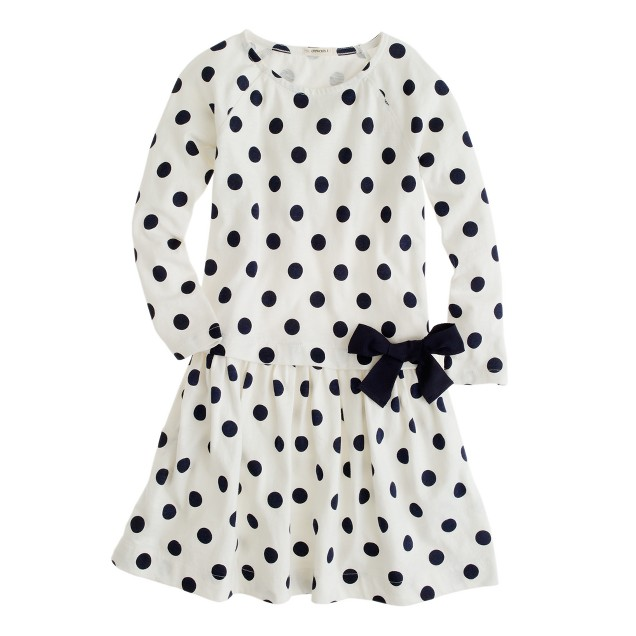 Girls' drop-waist dot dress