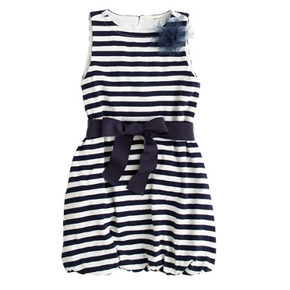 Girls' bubble dress in stripe