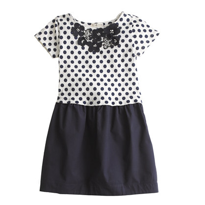 Girls' jeweled daisy dot dress