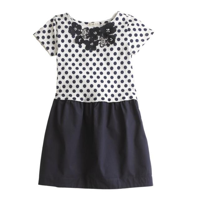 Girls' jeweled daisy dot dress