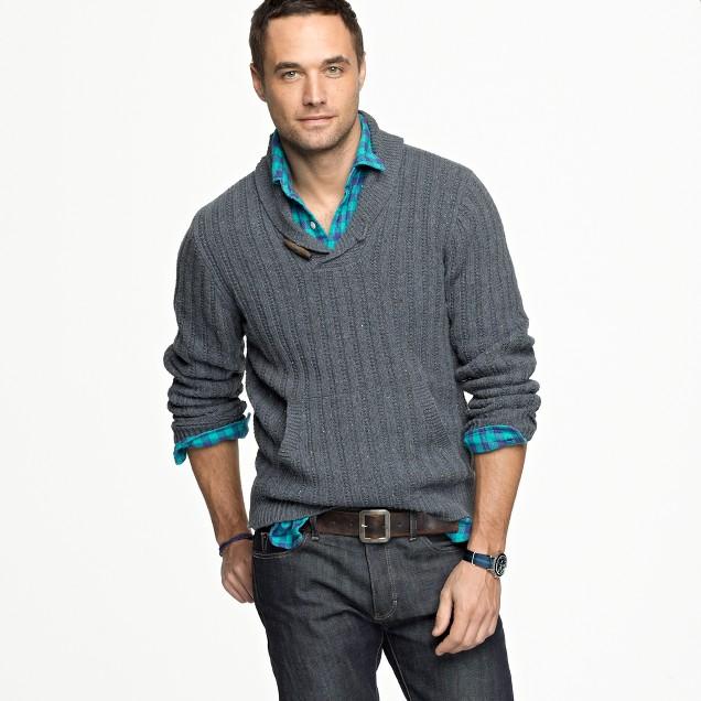 Toggle shawl collar sweater j crew for Mens sweater collared shirt