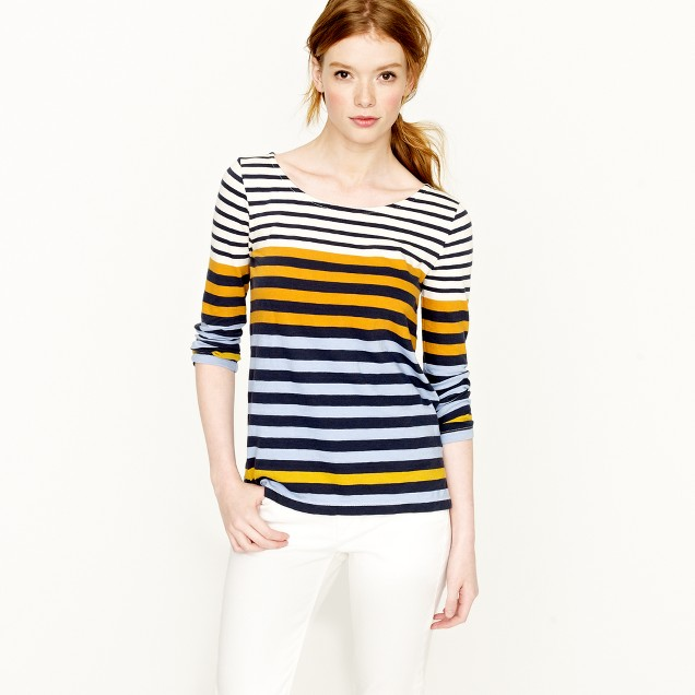 Colorblocked stripe tee
