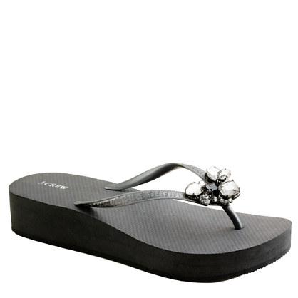 Stacked jewel wedge flip-flops