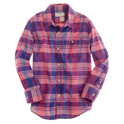 Boys' Indian cotton shirt in pale barn