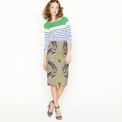 Petite long No. 2 pencil skirt in sovereign paisley