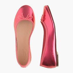 Girls' classic metallic leather ballet flats