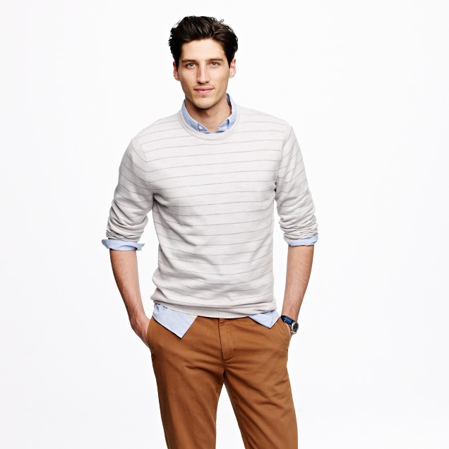 Merino crewneck sweater in stripe