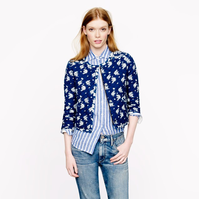 Indigo floral quilted jacket