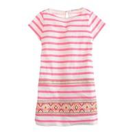 Girls' stitchwork stripe dress