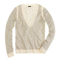 Sequin-stripe V-neck sweater