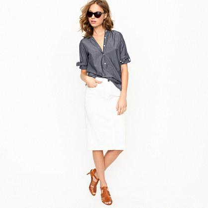 High-waisted denim pencil skirt in sunwhite wash