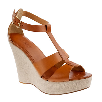 Palma leather platform wedges