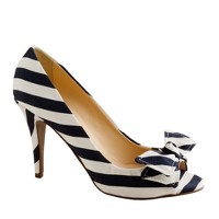 Evie stripe peep-toe pumps