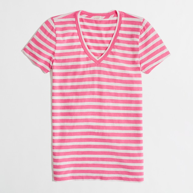 Factory layering v-neck tee in classic stripe