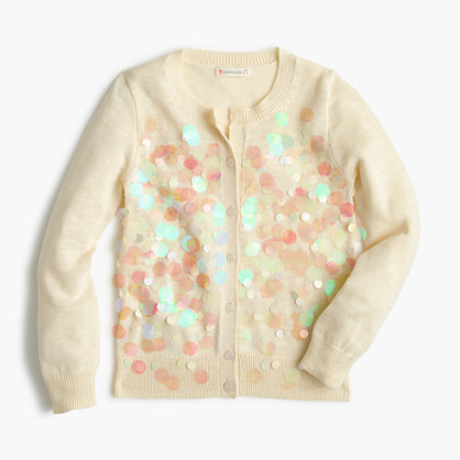 Girls' iridescent bubble cardigan