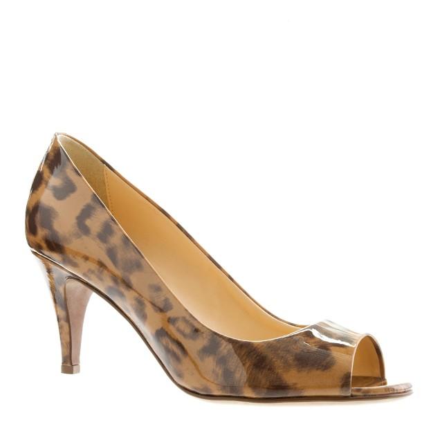 Drea leopard patent peep-toe pumps