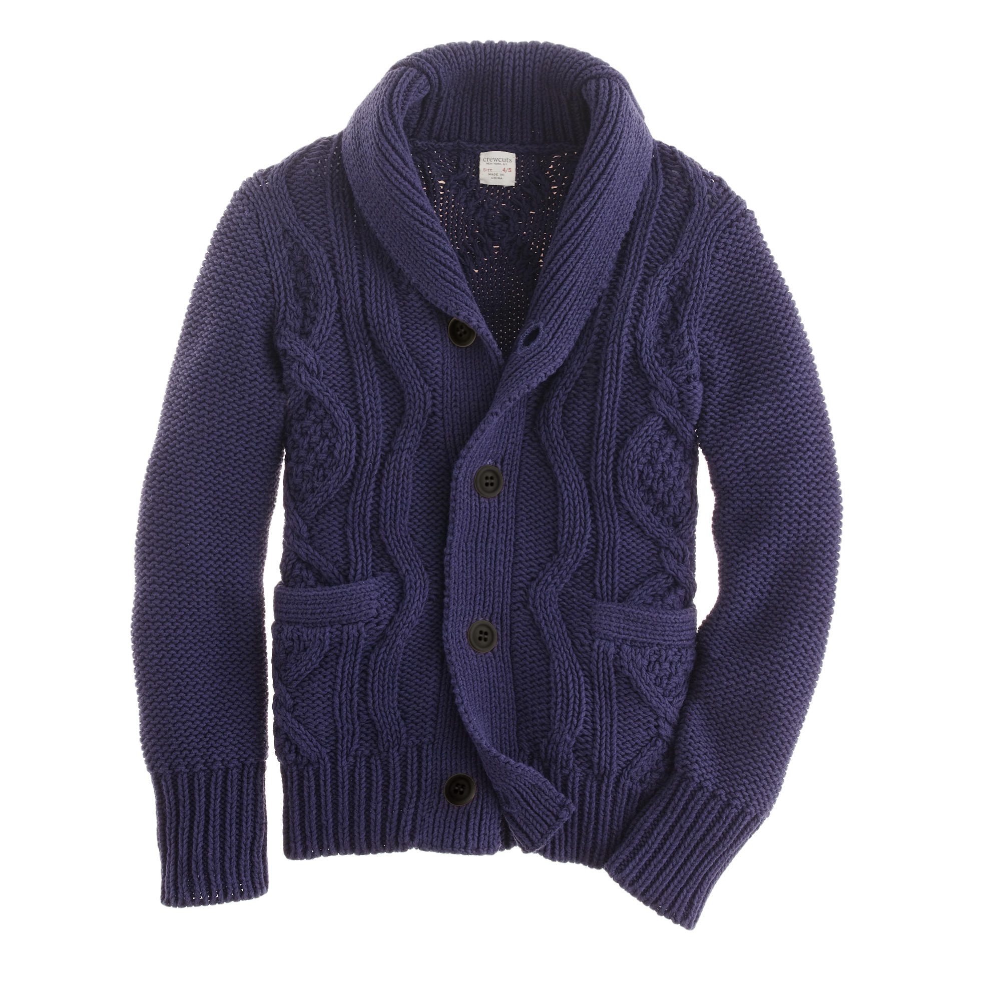 Boys' cotton cable shawl-collar cardigan :