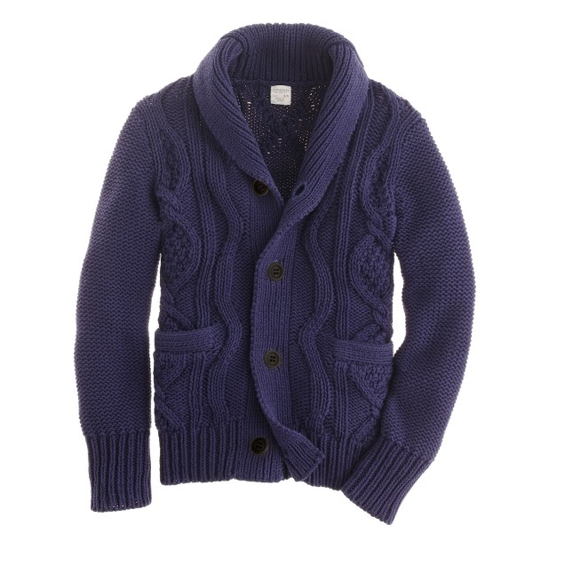Boys' cotton cable shawl-collar cardigan