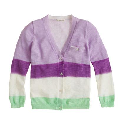 Girls' dip-dyed stripe cardigan