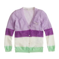 Girls' dip-dyed stripe cardigan