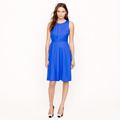 Petite pleated dress in Super 120s