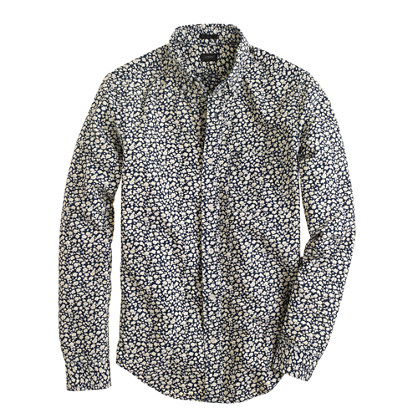 Slim indigo floral print shirt